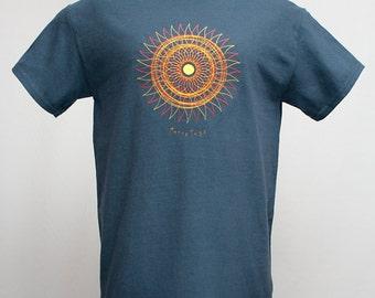 Sun Embroidery Blue Tshirt, Men's Summer Tee Shirt, Women's Plus Size Top, S M L XL 2XL XXL 1X 2X 3X Clothing, Christmas Pagan Yule Xmas