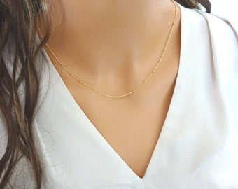 Gold chain necklace, delicate Beaded Necklace, satellite necklace, satellite chain, Gold fill Satellite chain necklace