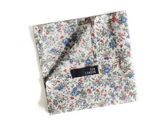 Oliver Ditsy Floral White Cotton Pocket Square, Men's Hand-Rolled Handkerchief