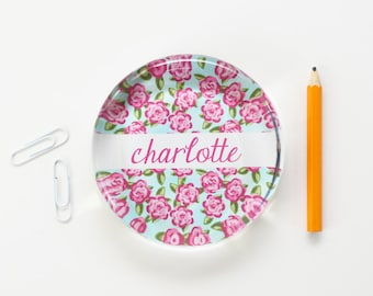 Custom Paperweight Personalized Desk Accessories Lilly Pulitzer Rose Pattern Teacher Gifts Preppy Dorm Room Decor Pink Teal Office Supplies