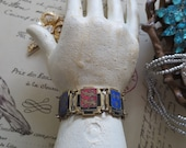 French Souvenir Bracelet Vintage 1940s 1950s Retro Collectible Panel Enamel Charms