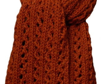 Hand Knit Scarf - Copper Alpaca Winding Trail