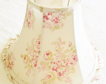 Vintage Cottage Home Shabby Pink and Celadon Green Rose Adorned Lamp Shade with Ruffled Edge, Romantic Home, Olives and Doves