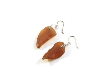 Rhode Island Brown Sea Glass Earrings with Sterling Silver Links and Sterling Silver or Hypoallergenic Surgical Stainless Steel Ear Wires