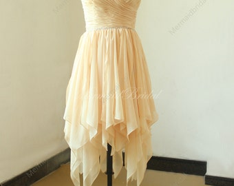 Champange high low wedding Dress, Short bridesmaid dresses