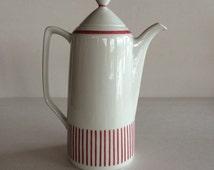 Rorstrand Sweden Kadett Red Stripe Swedish Teapot / Coffee Pot /  Iconic Scandinavian Design Pattern