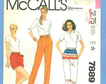 1982 Misses' Pants or Shorts Size 14 - Vintage McCall's Sewing Pattern 7889