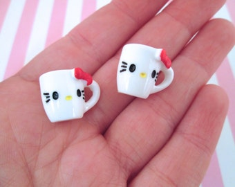 Hello Kitty Coffee Cup Cabochons, Cute Decoden Cabochons