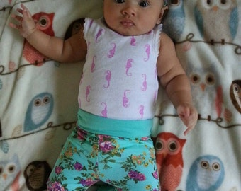 Baby Legging, Baby Headband, Baby Clothing, Toddler Legging, Newborn Legging, Toddler Headband, Chartreuse Purple Floral on Aqua Gift Set