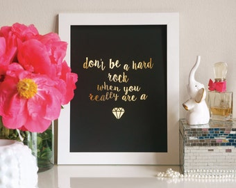 Lauryn Hill Gold Foil Don't Be a Hard Rock, Gem - Calligraphy Art - Miseducation