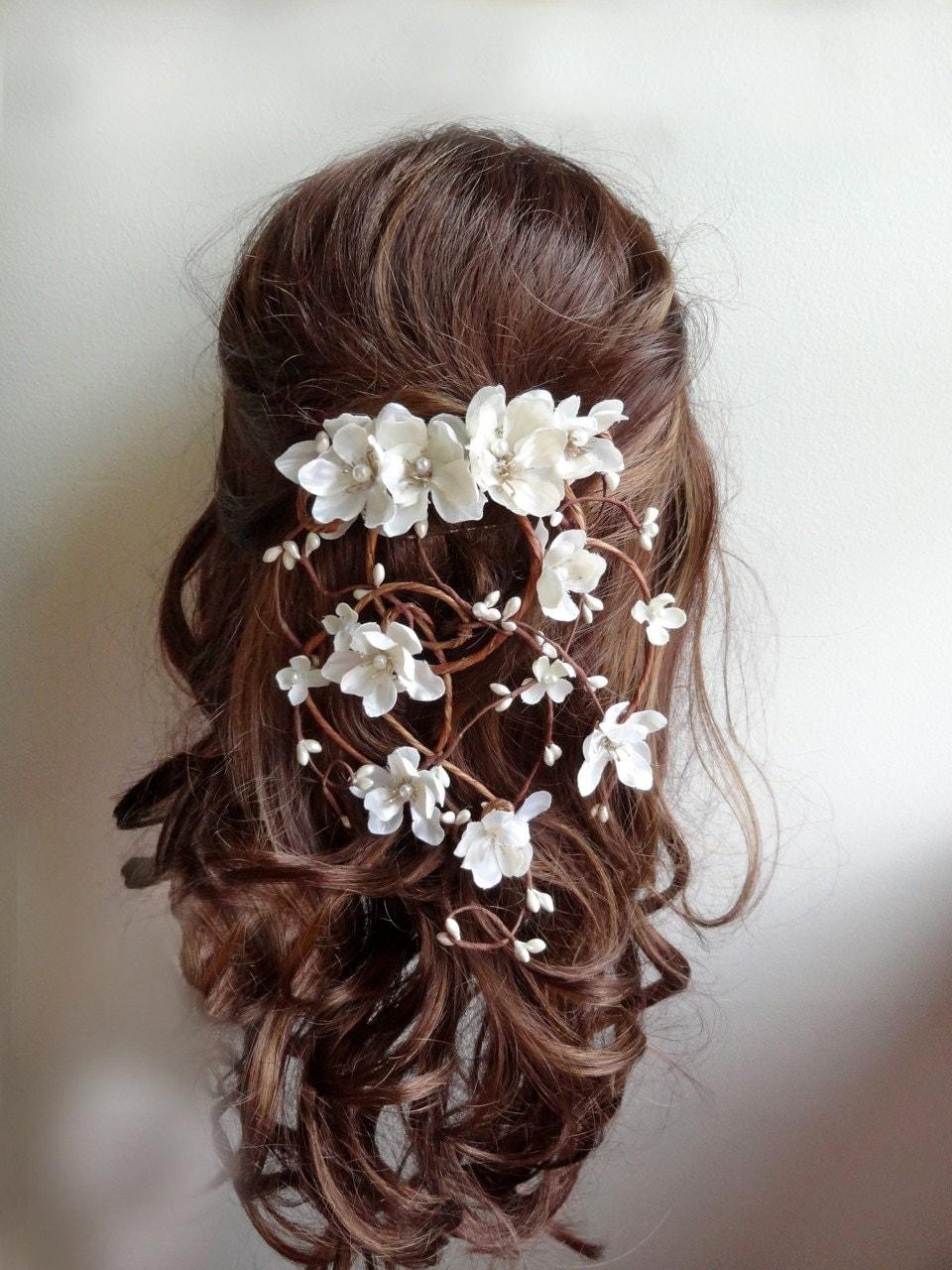 bridal hair vine hair clip wedding bridal headpiece flower