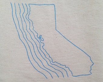 Flour Sack Dish Towel - California Coast - Pacific Ocean Coastline