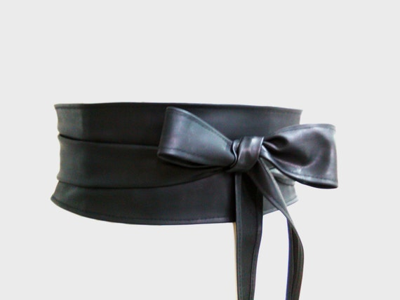 sale 10 black obi belt vegan leather kimono by