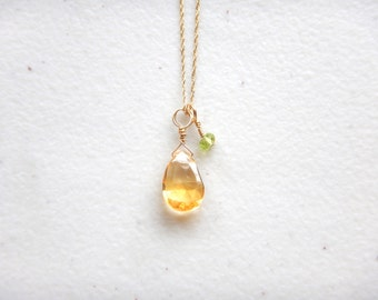 """Dainty Golden Citrine Drop & Peridot 14k Gold Necklace - 18.5"""" Solid Yellow Gold / DELICATE Simple Minimalist Jewelry, Unique Gifts for Her"""