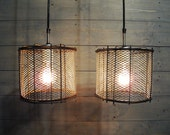 "Industrial Pendant Light 7.75"" Diameter Rustic Brown Cage with Metal Screen Mesh - Repurposed Steel Lighting"