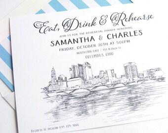 Columbus, Ohio Skyline Rehearsal Dinner Invitations (set of 25 cards)