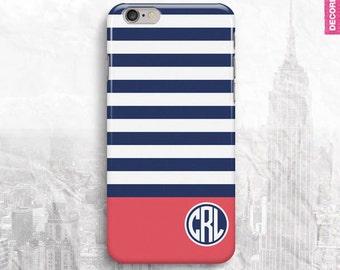 Blue Stripe Circle Monogram iPhone 6 Case, iPhone 5 Cover, iPhone 4 Cover, iPhone 6 Plus Case