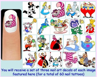 60 x ALICE IN WONDERLAND Nail Art Decals + Free Rhinestones Disney Princess Princesses Cheshire Cat Queen of Hearts White Rabbit Mad Hatter