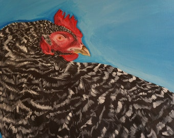 "Original acrylic painting, ""Barred Rock,"" 16"" x 20"""