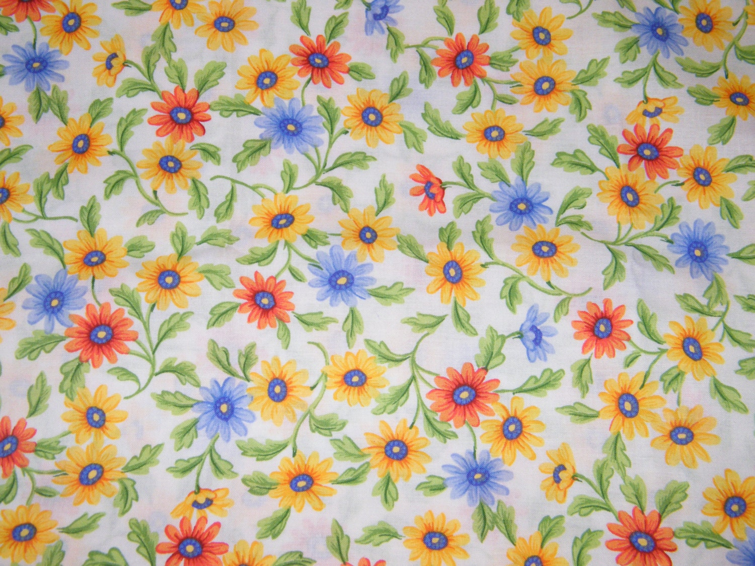bty blue orange yellow floral print 100 cotton quilt crafting fabric by the yard from. Black Bedroom Furniture Sets. Home Design Ideas