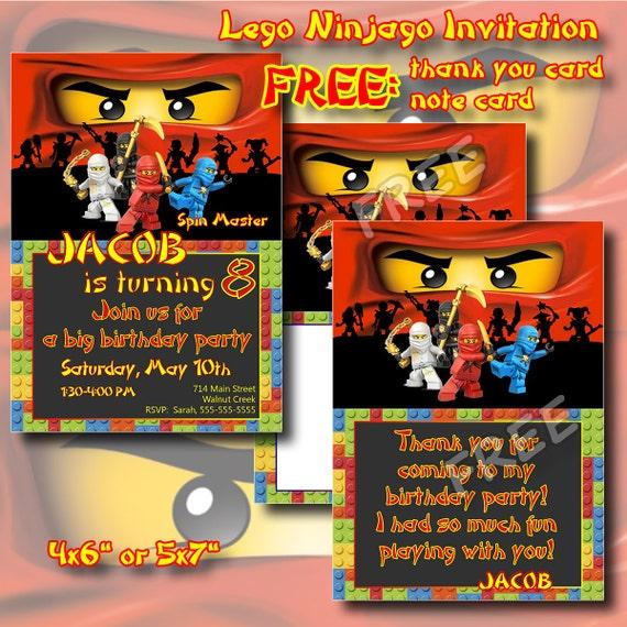 Lego ninjago invitation merci carte carte anniversaire par - Carte ninjago ...