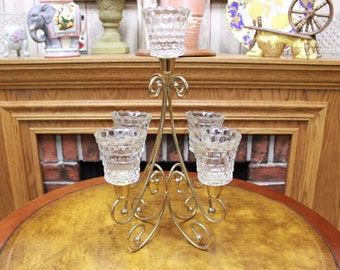 Vintage candelabra wIth fIve crystal candle holders.