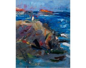 Fine Art Giclee Print, Afternoon Light Original Art Plein Air Seascape Landscape Impressionist Oil Painting Coastal Impasto Sea Sky Textured