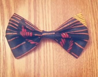 Wax Print Bowtie, Autumn Blue (Ties, Unisex, Neckwear, Collar)