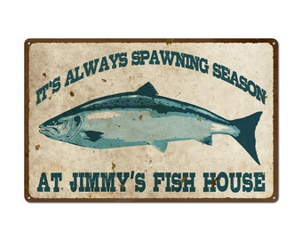 Personalized Vintage Fish House Sign  (999-00058)
