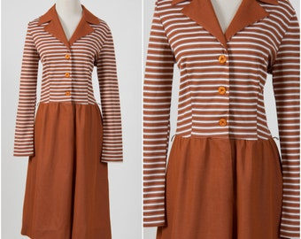 Vintage 1960s 1970s brown & cream stripe dress 70s Mad Men Secretary