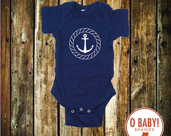 Anchor bodysuit with a nautical theme for any beach baby and it makes the perfect baby shower gift
