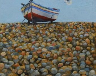 Original small oil painting of Sicilian fishing boat on pebble beach