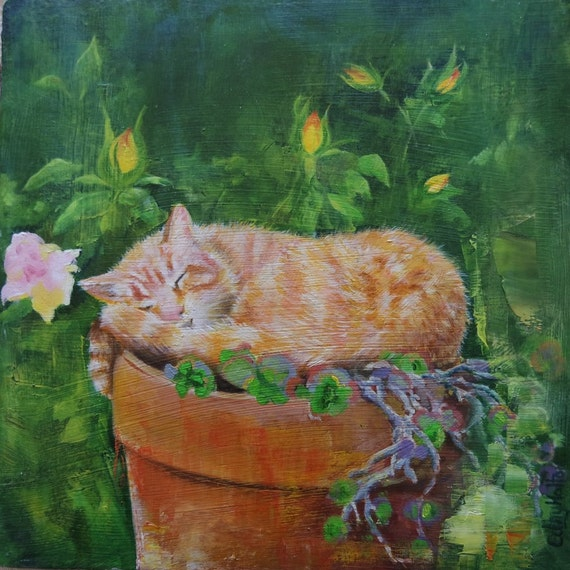 Original Small Oil Painting Of A Cat Sleeping In The Garden