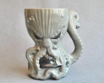 Large beer mug, Cthulhu mug, handmade, porcelain handmade, Octopus mug, Lovecraft, color gray