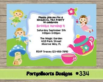 334 DIY - Fairy Tea Party Invitations Cards.