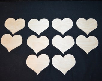 Handcrafted 2 inch Wooden Heart, Set of 10