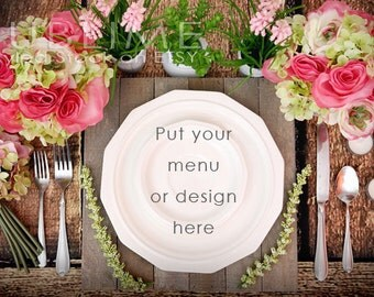 Styled Stock Photography / Plates / Mockup / Menu  / Wedding Menu / Place Setting / Table Stetting / JPEG Digital Image / StockStyle-465