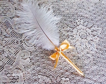 Wedding Ostrich Feather Pen/Fancy/gold ribbon/Wedding/Anniversary /signature