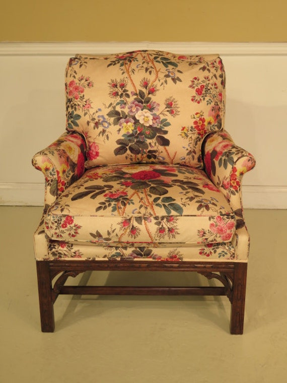 26530e chippendale floral upholstered living room chair w down seat