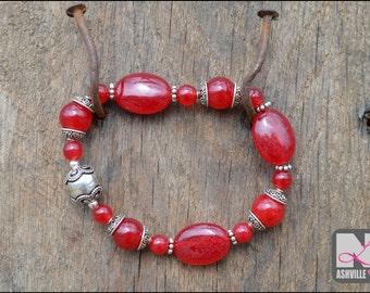 Sterling Silver Bali Bead Bracelet with Red Jade (B605)