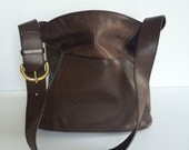 COACH Bucket Bag   Mahogany Brown Leather   Brass Hardware   made in United States