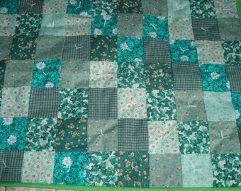 """Green doll quilt set, AG size quilt and pillow set, 4 piece bedding set, 18"""" doll bedding, 20"""" doll quilt, green doll quilt, floral quilt"""