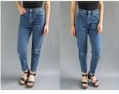 90s Vintage XS High Waist size 25 Jeans - High Waist Vintage Skinny Jeans 25 - Mom Jeans 25 High Waisted Skinny Jean