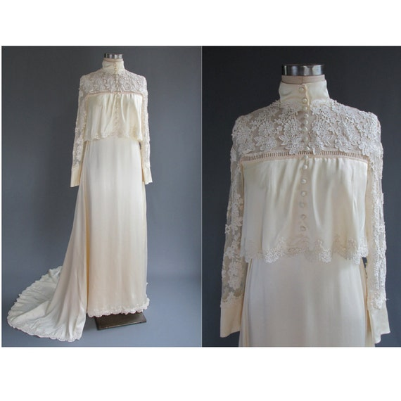 Vintage 1970s christos xs wedding gown 70s wedding dress xs for 1970s wedding dresses for sale