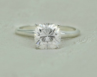 7 mm Cushion Cut Forever Brilliant Moissanite Solitaire Engagement Ring on 14K White Gold