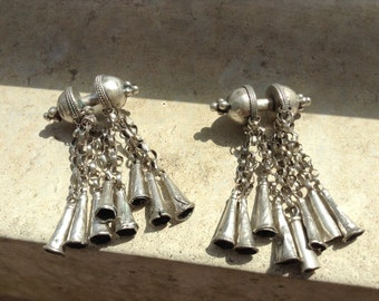 Ethiopian,Wollo antique silver earrings.  Rare set.. Antique siler dangle  earrings.Collector's item. Co  Boho jewelry.