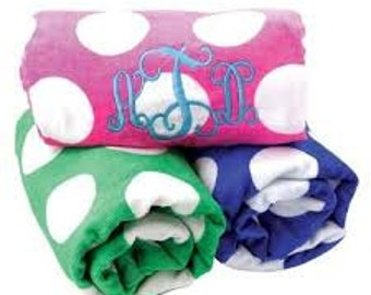 Polka Dot Monogrammed Beach Towel - Good Quality- Great Gift!