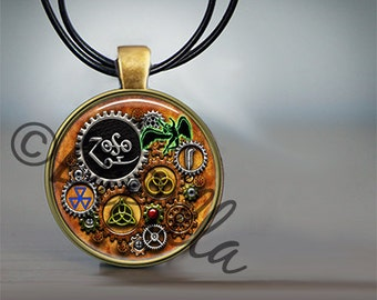 Led Zeppelin Steampunk Inspired Pendant set in Bronze with Leather Cord