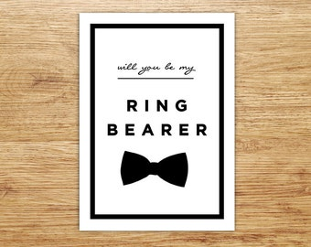 Ring Bearer Card, Will You Be My Ring Bearer, Wedding Party Invitation, Junior Groomsman, DIGITAL, Bowtie, Nephew, Modern, Page Boy, DIY