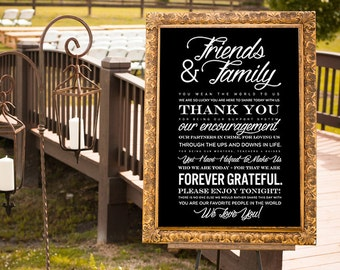 Wedding Thank You, Printable Thank You, Wedding Thank You Poster, Guest Thank You, Reception Thank you, Gold Wedding Sign